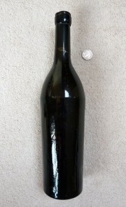 Dip-moulded English wine bottle, 1870s, neck repaired by author