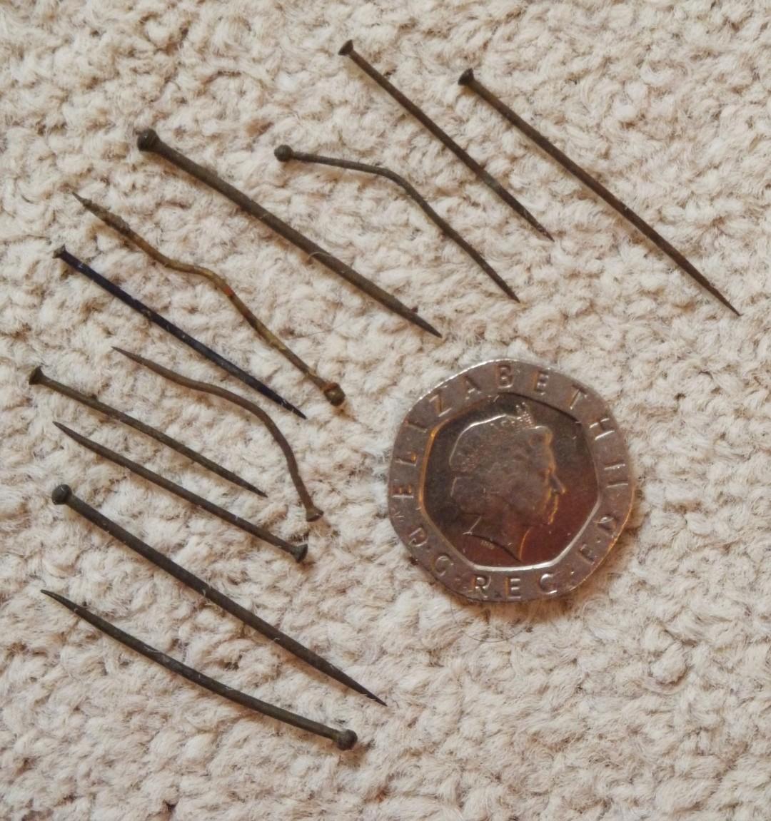 Victorian brass pins