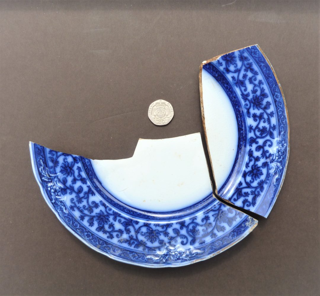 Plate with blue pattern
